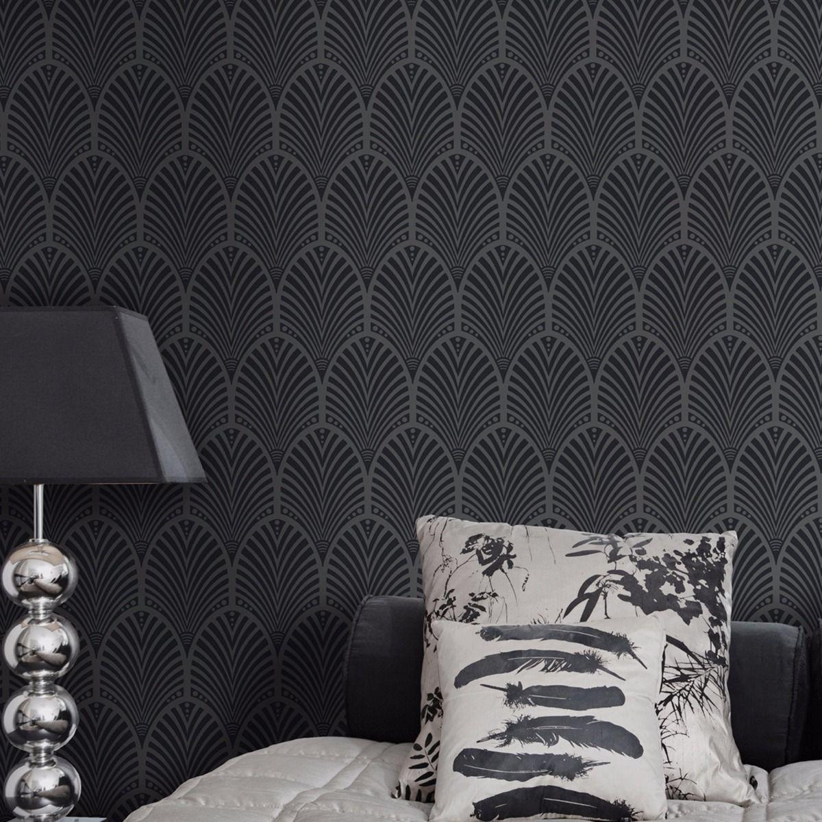 1920s art deco black wallpaper