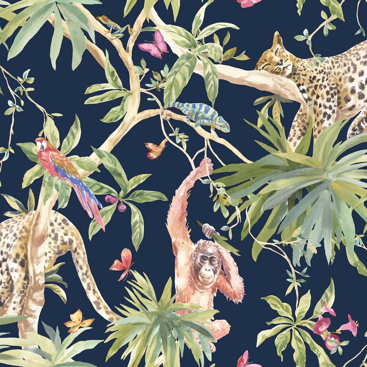 2020 colour of the year classic blue jungle lemur wallpaper