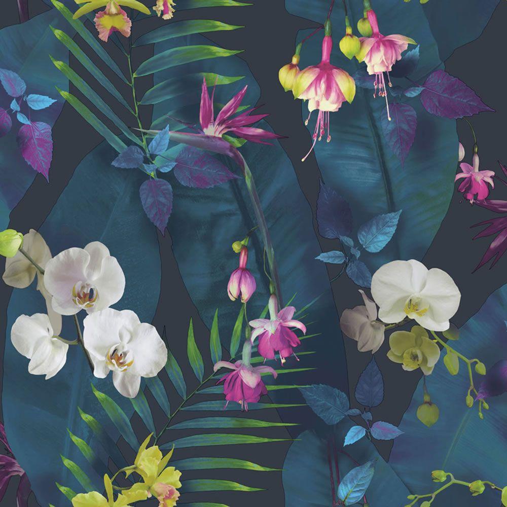 tropical wallpaper blue navy birds