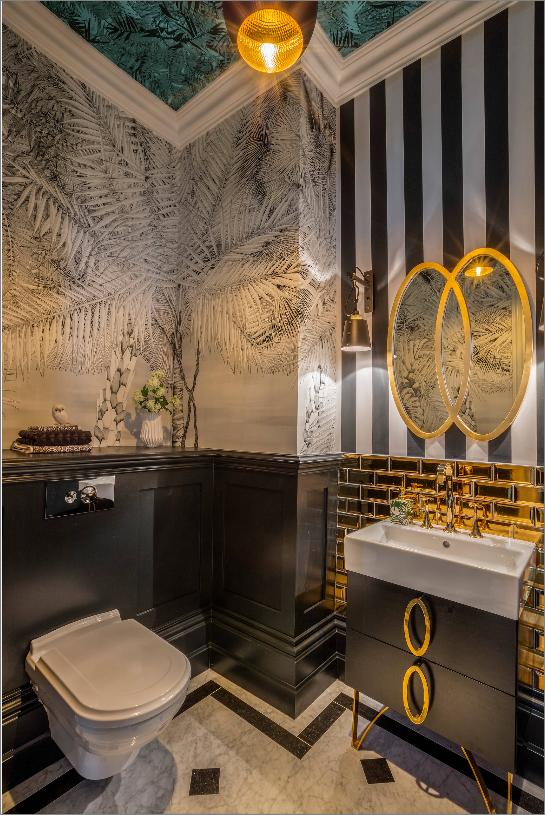 houzz art deco wallpaper bathroom