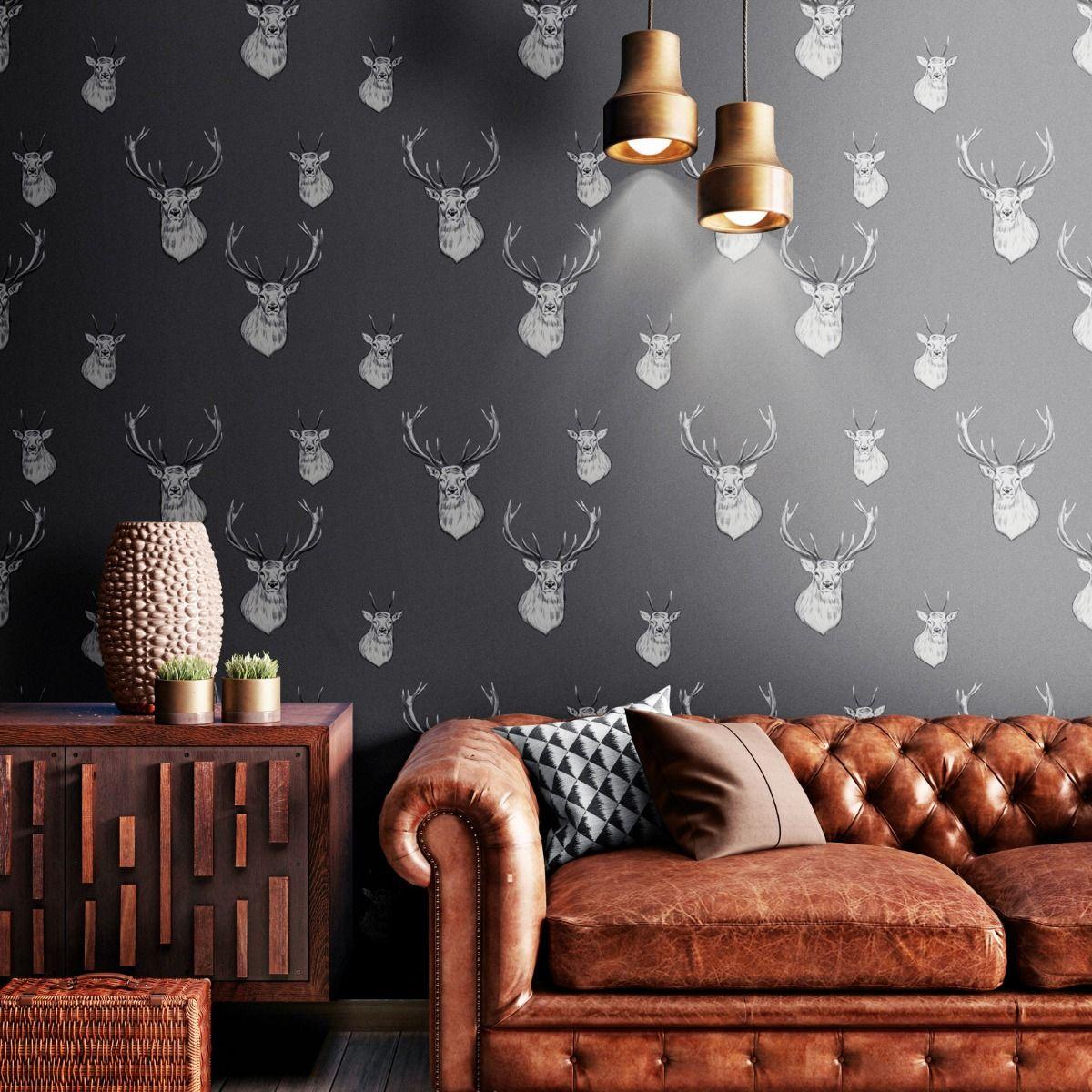 autumn stag grey wallpaper