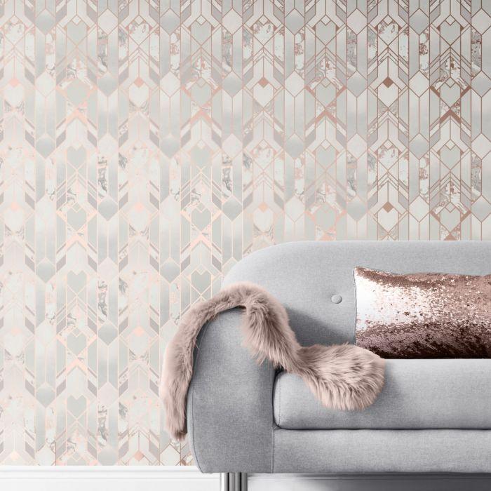 Elixir Geometric Marble Wallpaper Rose Gold Muriva 167502