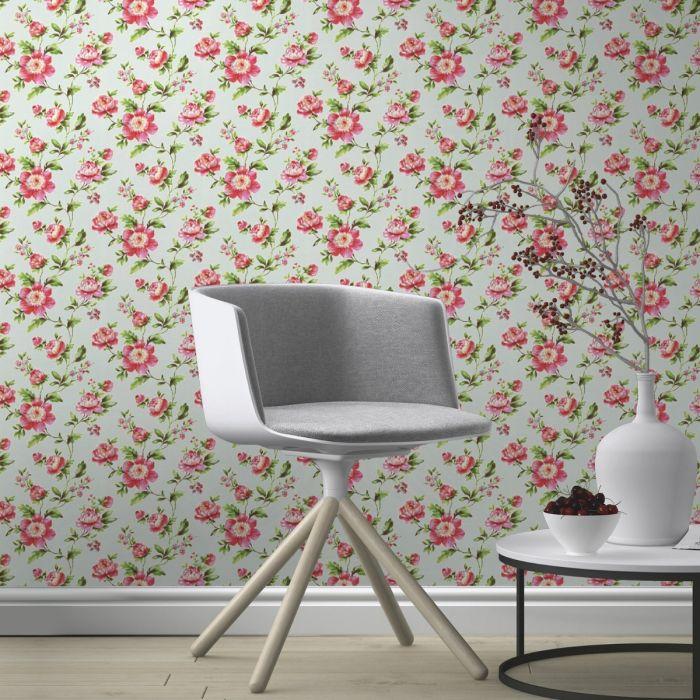 Shabby Chic Rose Wallpaper - Teal - Rasch 442229