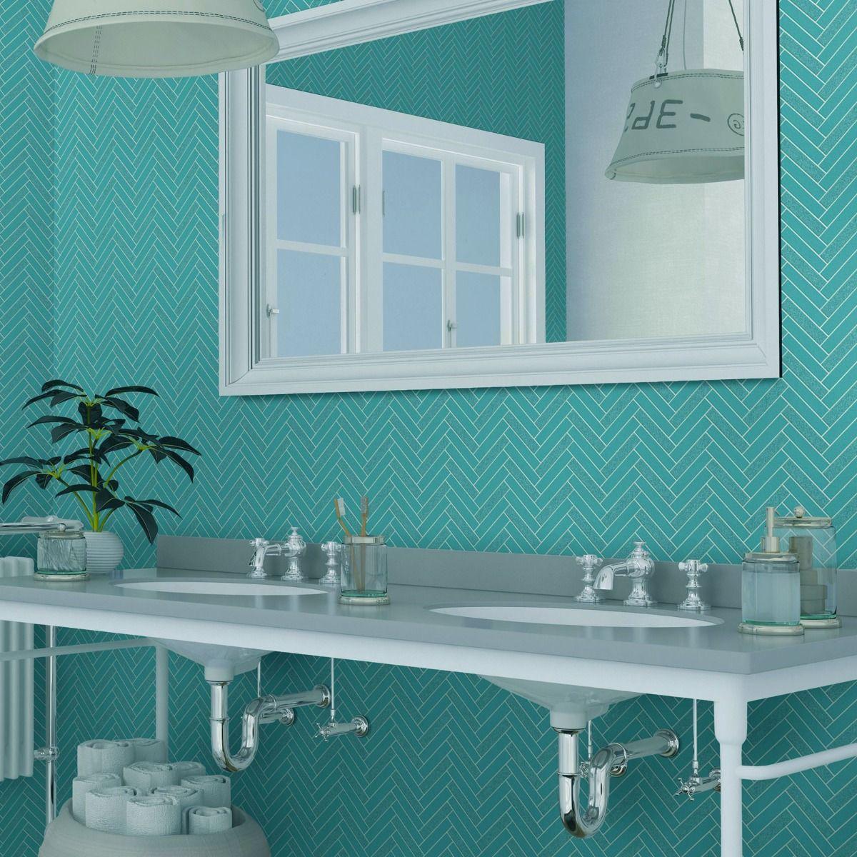 blue tile replica wallpaper