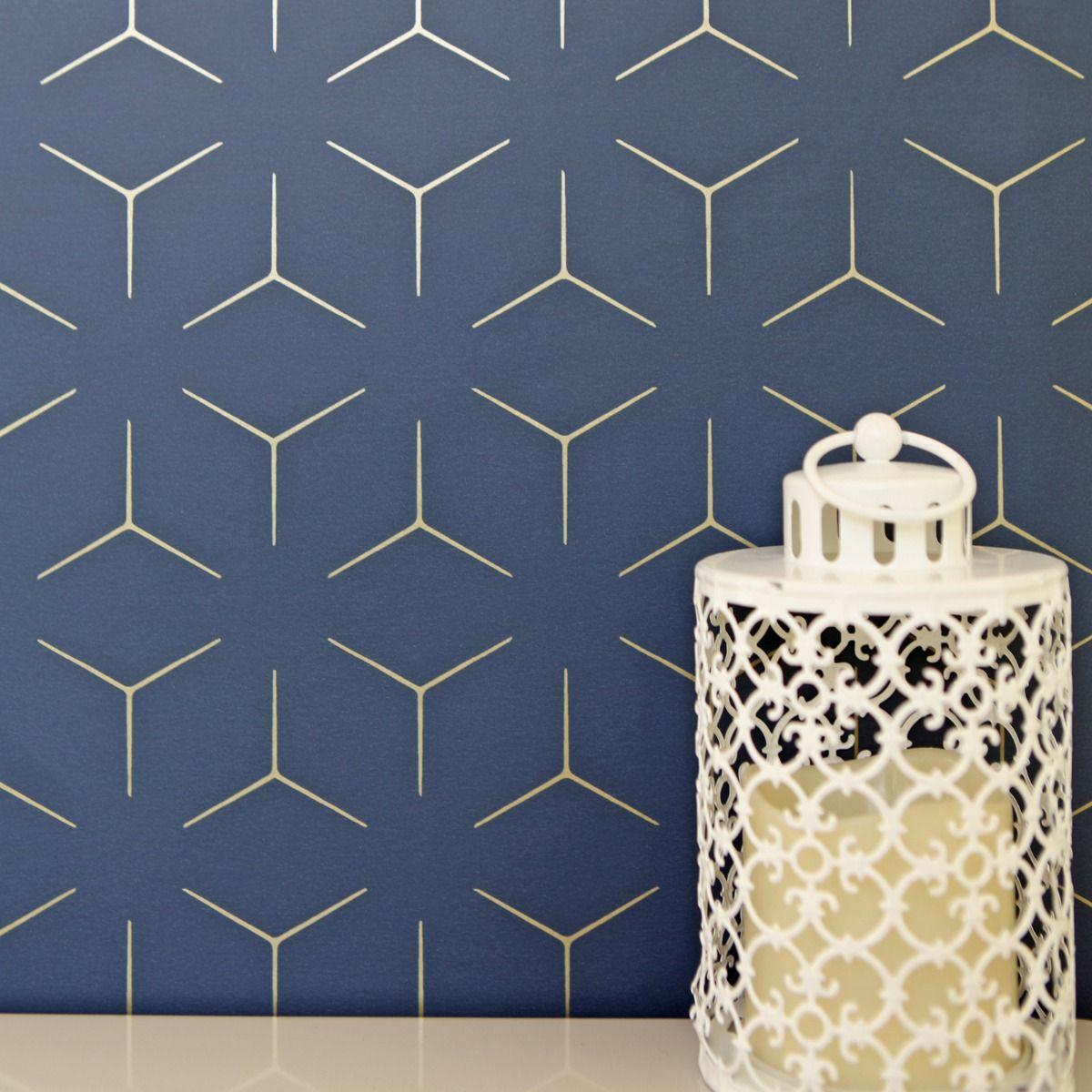 2020 geometric wallpaper navy blue sale discount