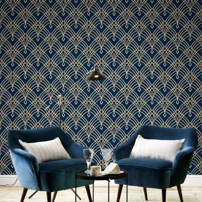 1920s art deco black wallpaper blue