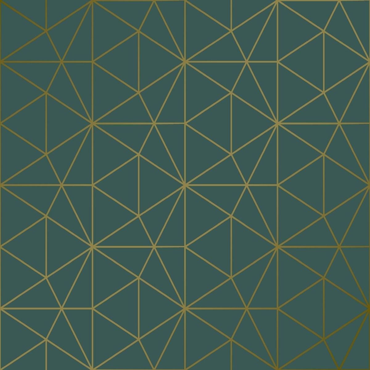 Metro Prism Geometric Triangle Wallpaper - Emerald Green and Gold - WOW037 room shot