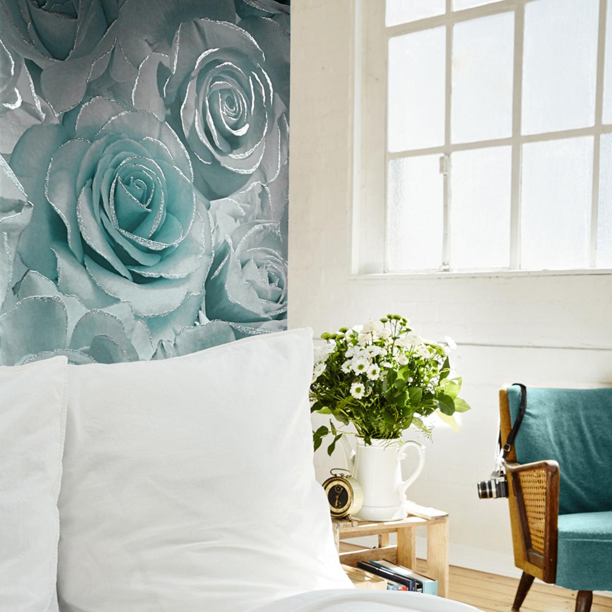 Madison Rose Glitter Floral Wallpaper Aqua and Grey Muriva