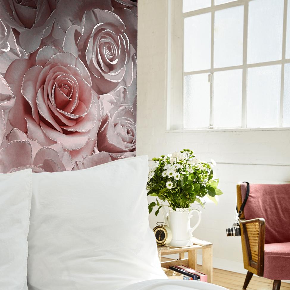 Madison Rose Glitter Floral Wallpaper Raspberry and Blush Pink Muriva