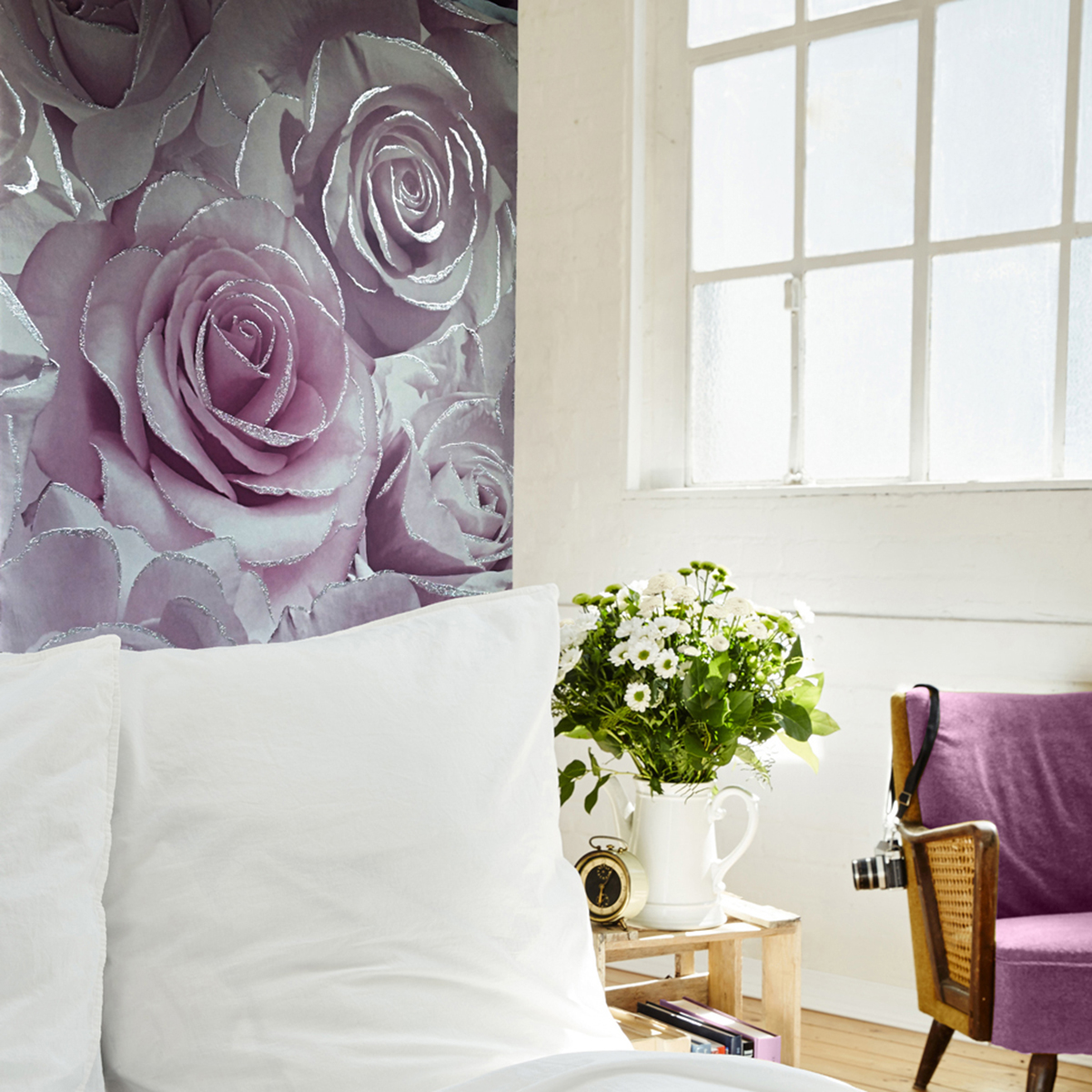 Madison Rose Glitter Floral Wallpaper Amethyst and Lilac Muriva