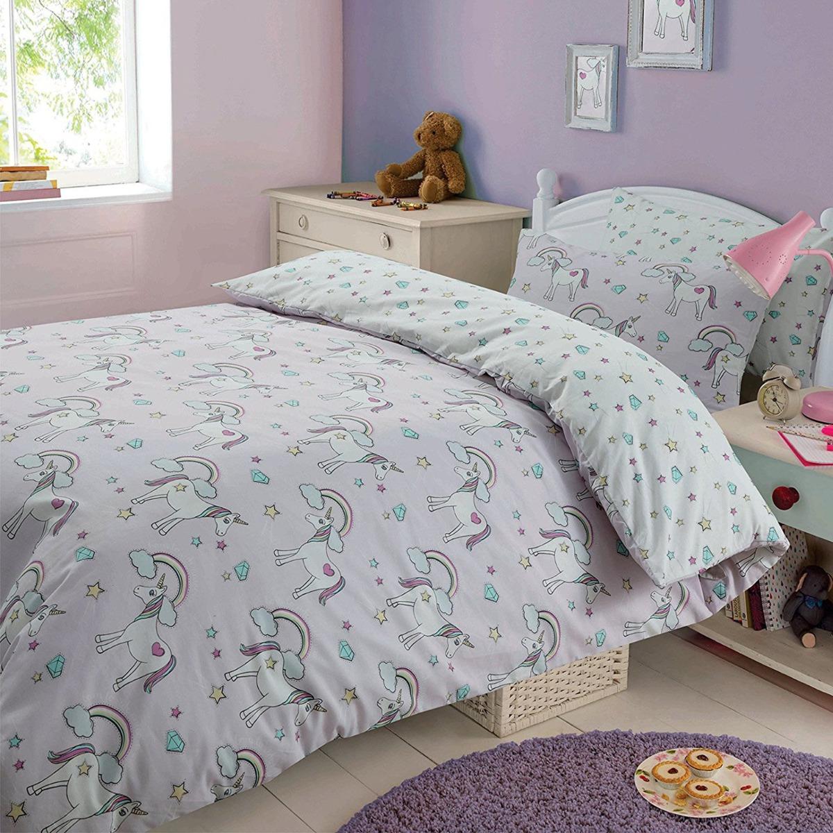 Magic Unicorns Single Duvet Cover And Pillowcase Set