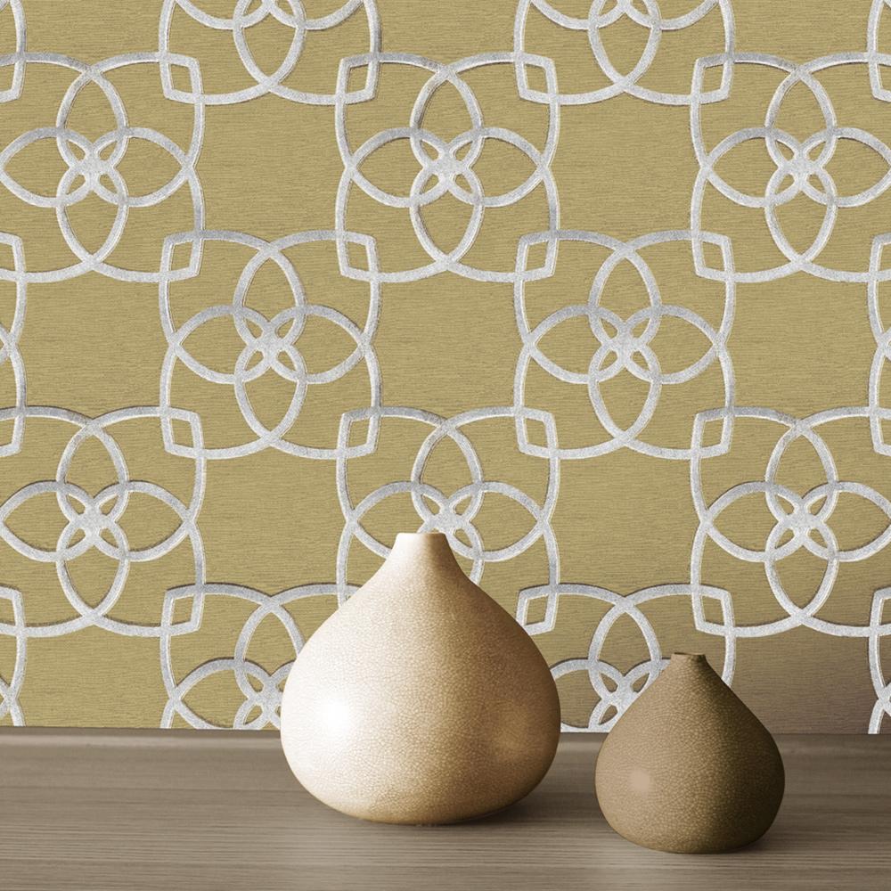 Marrakech Geometric Wallpaper Silver and Gold Muriva