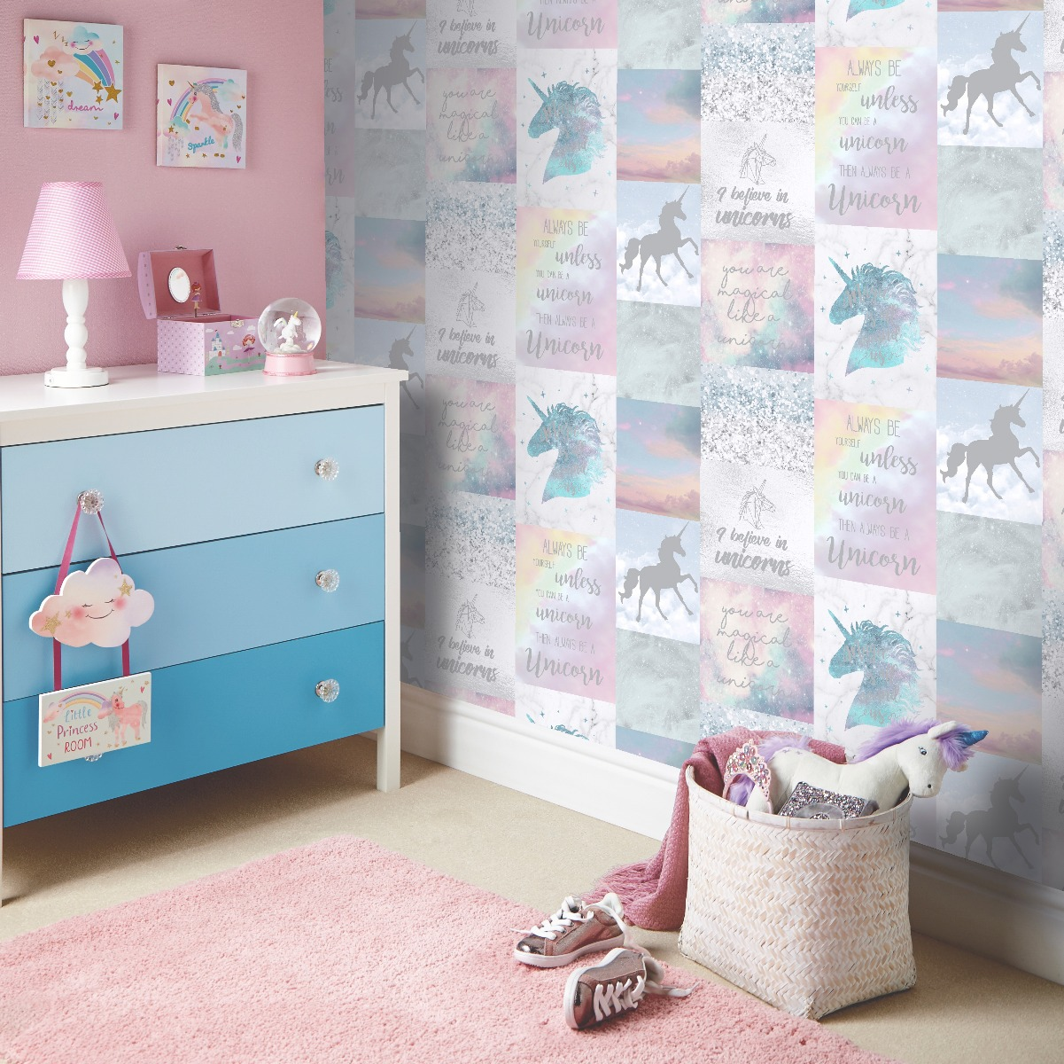Magic Unicorn Pink Glitter Kids Girls Boys Bedroom Wallpaper