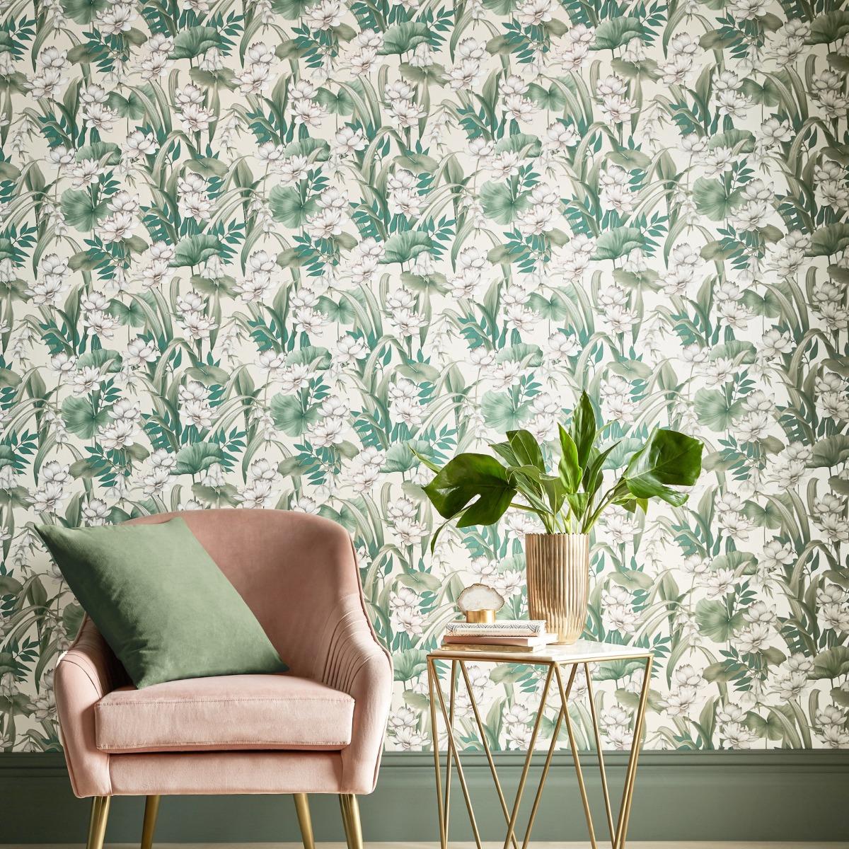 Celeste Glimmer Wallpaper Cream / Green Accessorize 274515