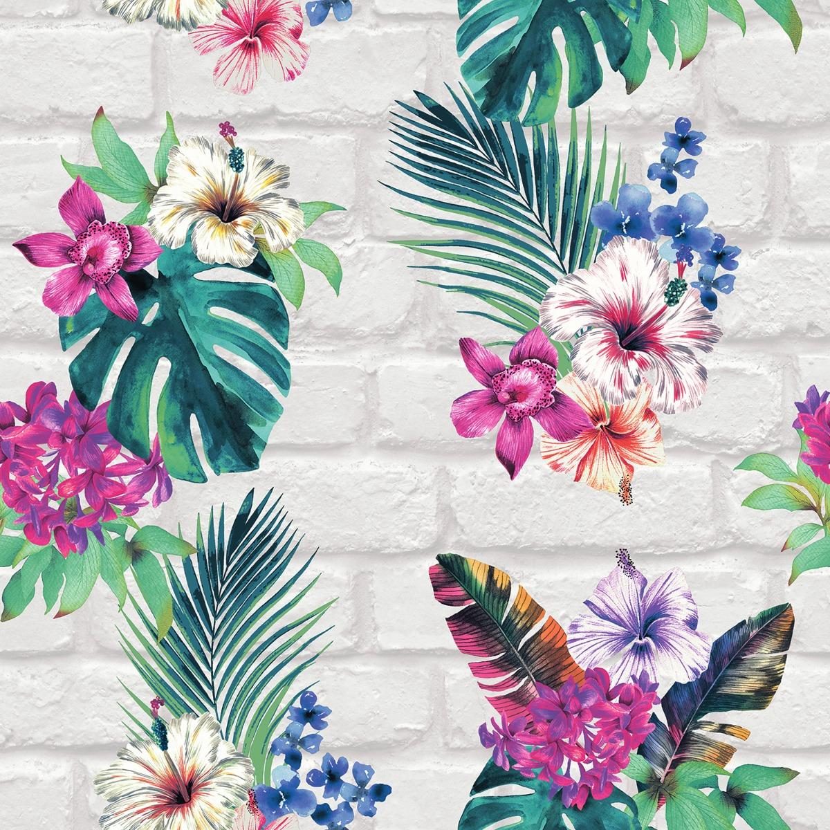 Camden Brick Floral Wallpaper Multi / Light Grey Accessorize 274805