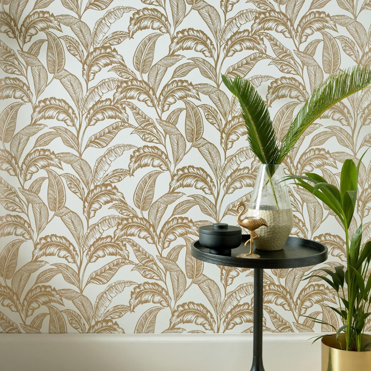 Mozambique Wallpaper Light Cream / Gold Accessorize 275123