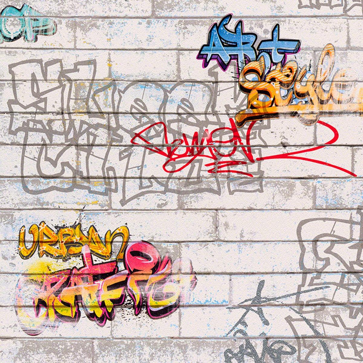 White Graffiti Wallpaper AS Creation 93561-1