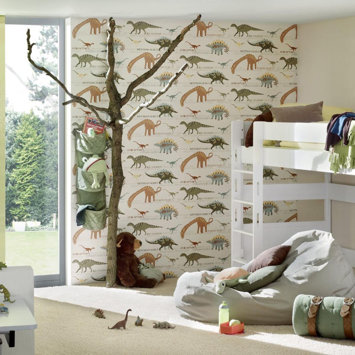Dinosaur Wallpaper Natural and Green AS Creation