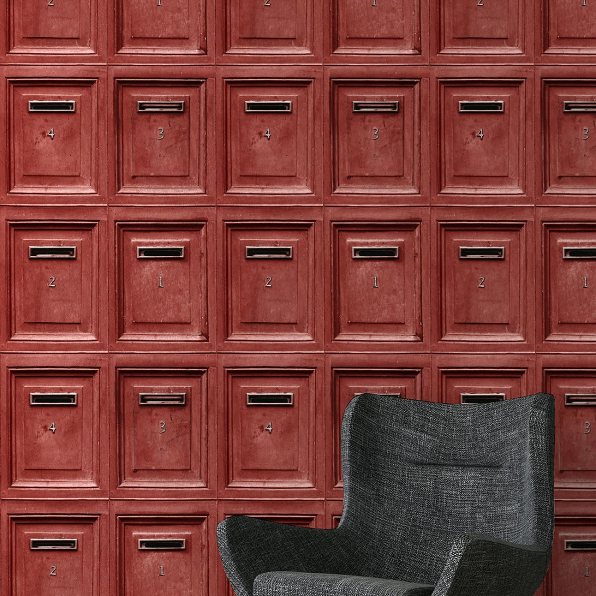 Vintage Mail Box Wallpaper Red AS Creation 30745-3