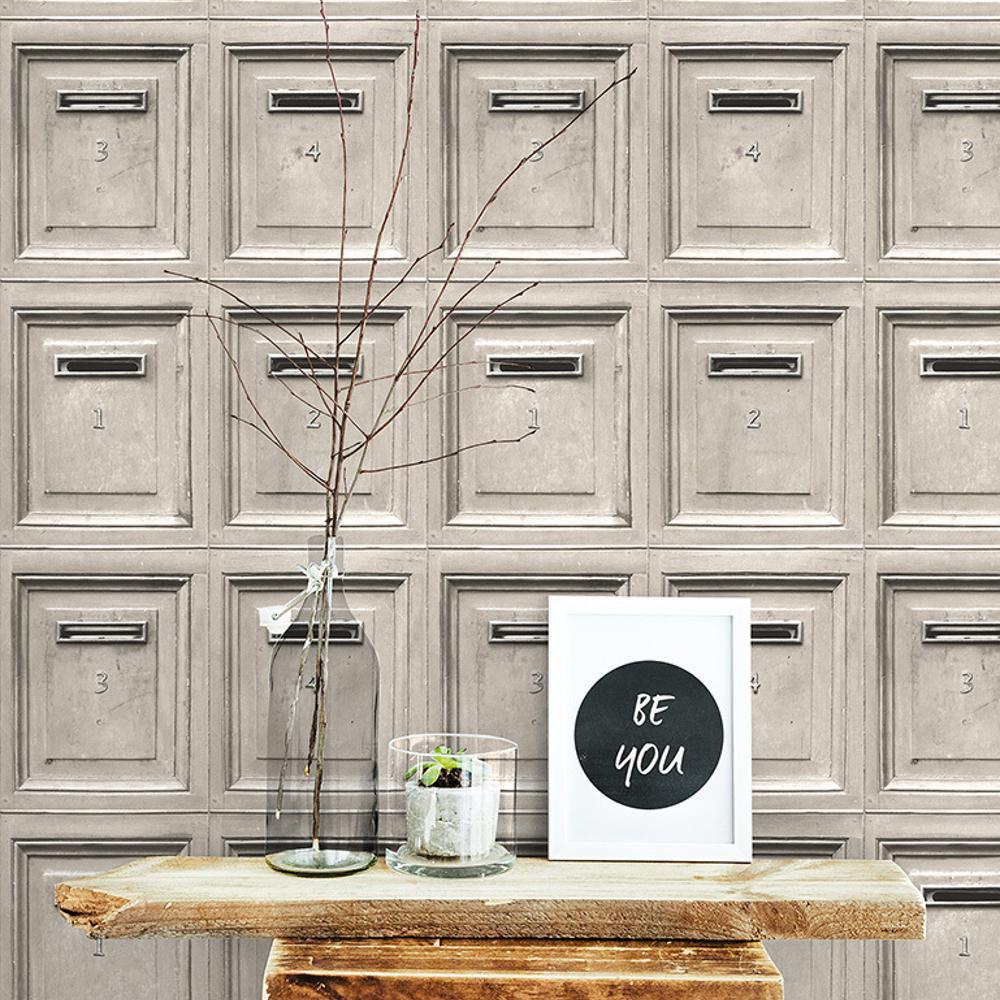 Vintage Mail Box Wallpaper Light Grey AS Creation 30745-1
