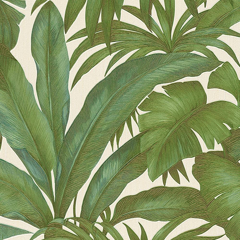 Versace Giungla Palm Leaves Wallpaper - Green and Cream - 96240-5 - 10m x 70cm