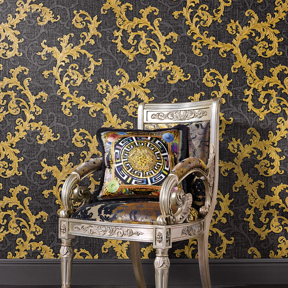 Versace Baroque Floral Trail Wallpaper - Black and Gold - 96231-6 - 10m x 70cm