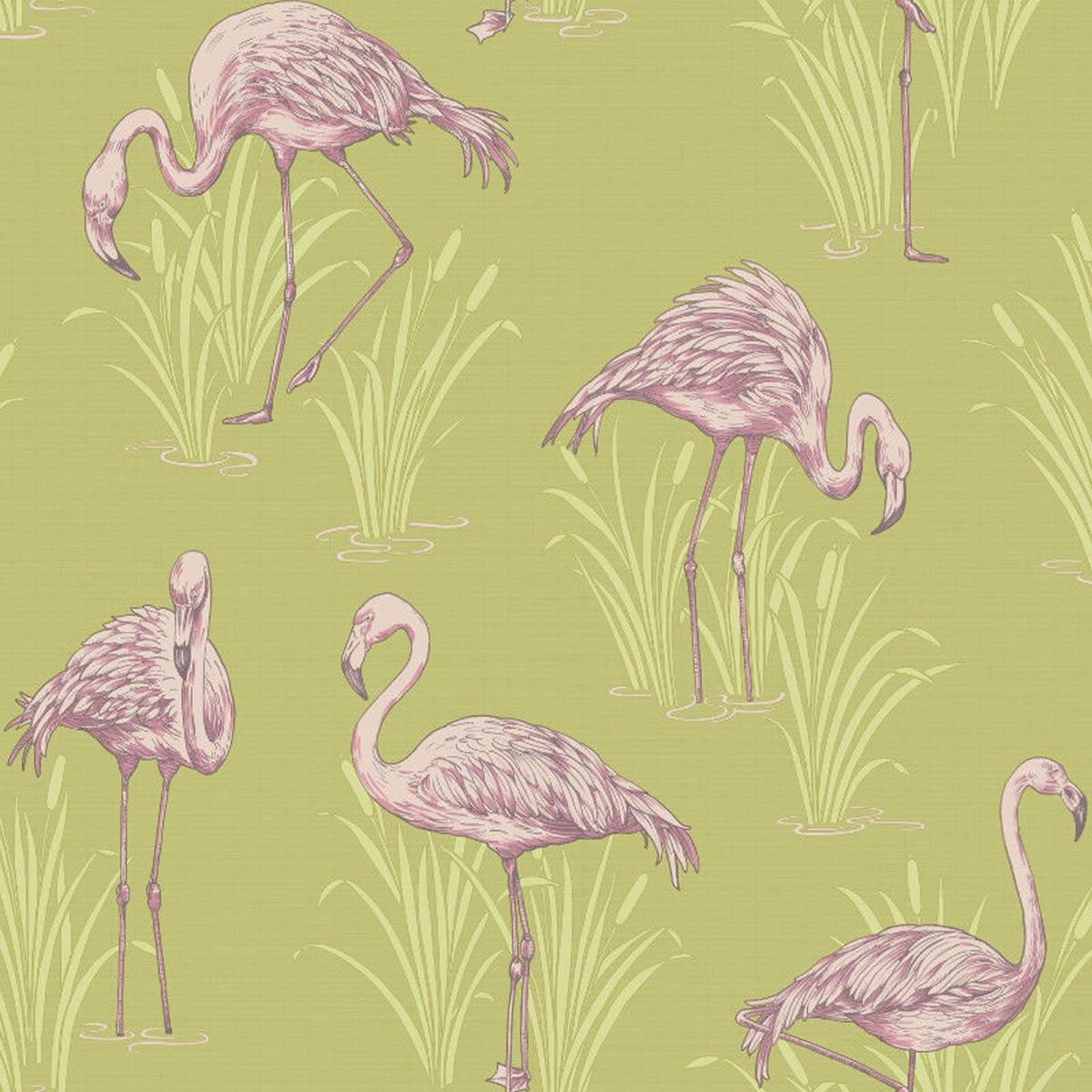 Vintage Lagoon Flamingo Wallpaper Green and Pink Arthouse 252602