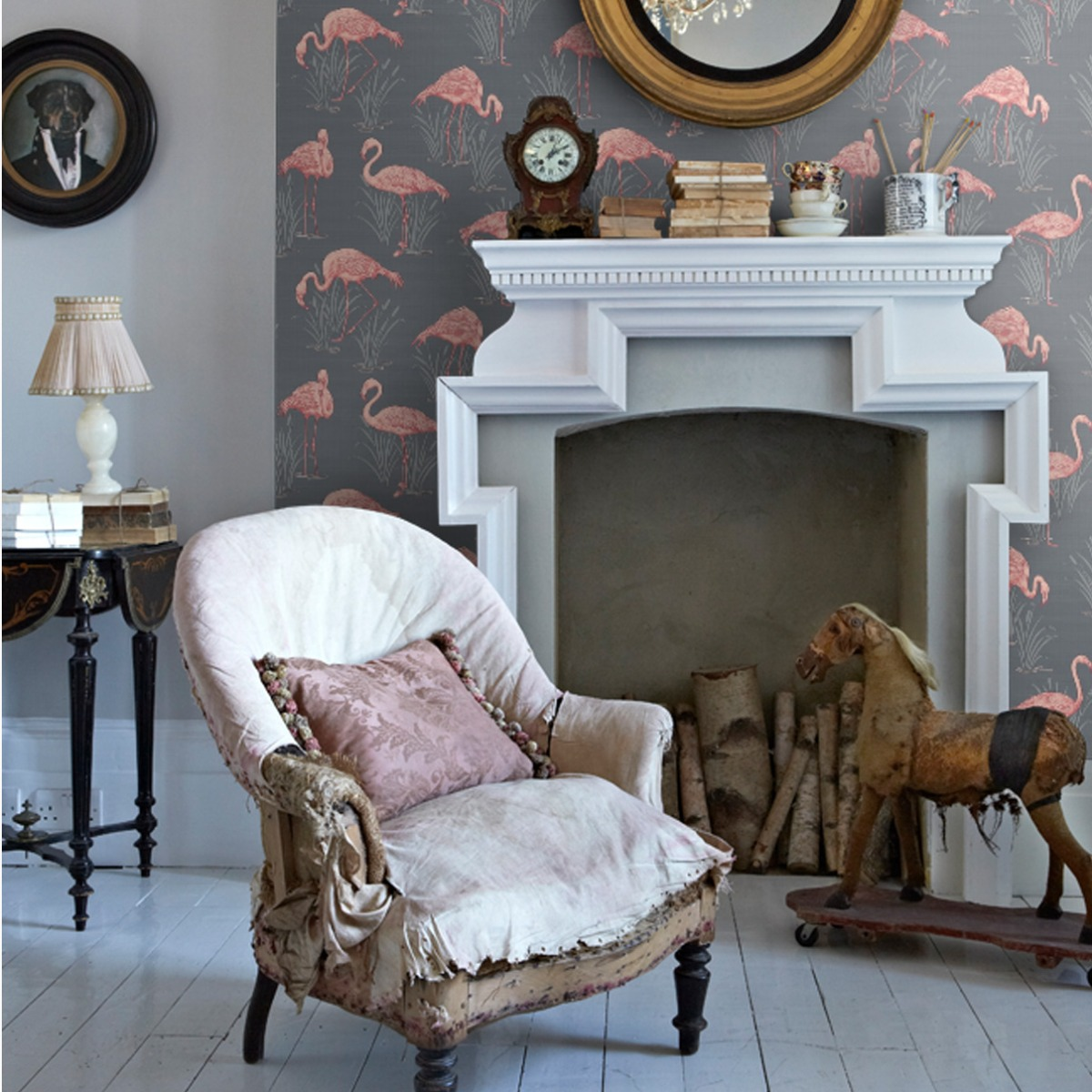 Vintage Lagoon Flamingo Wallpaper Grey and Coral Arthouse 252603