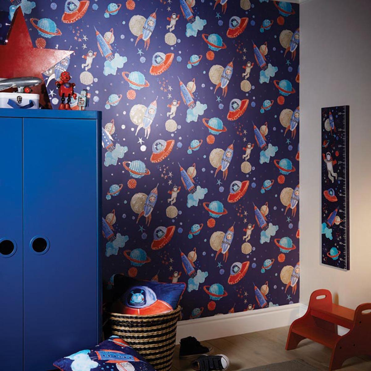 Starship Blue Glitter Wallpaper Arthouse