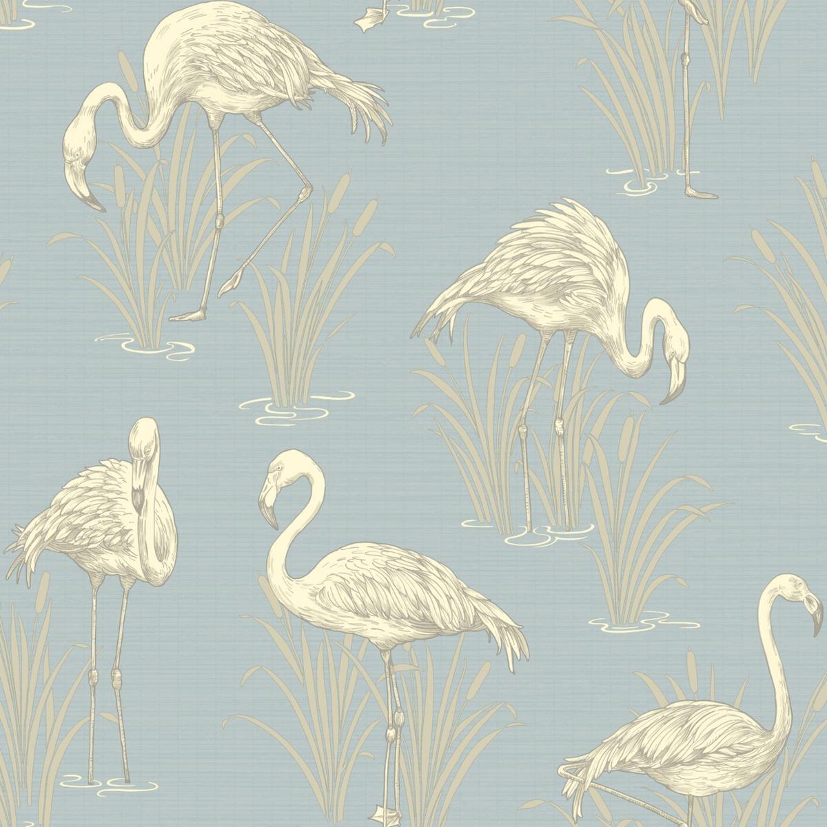 Vintage Lagoon Flamingo Wallpaper Soft Blue Arthouse 252605
