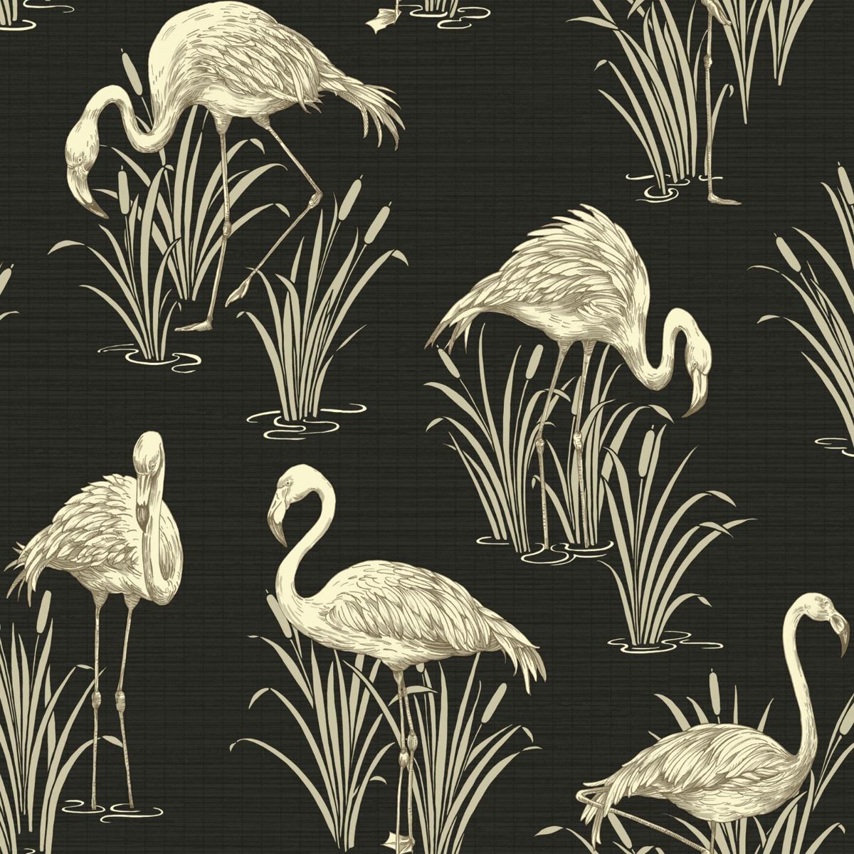 Vintage Lagoon Flamingo Wallpaper Black Arthouse 252600
