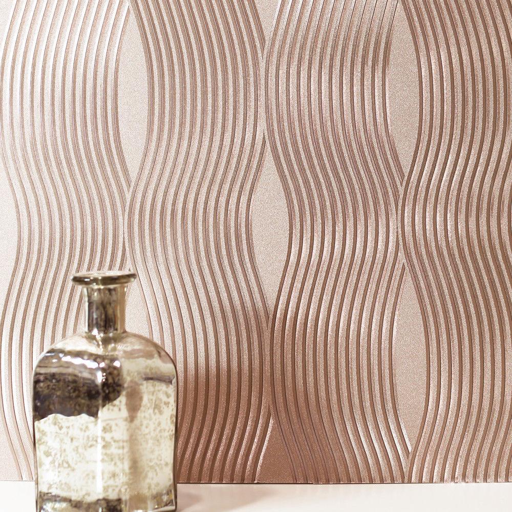 Foil Wave Wallpaper Rose Gold Arthouse