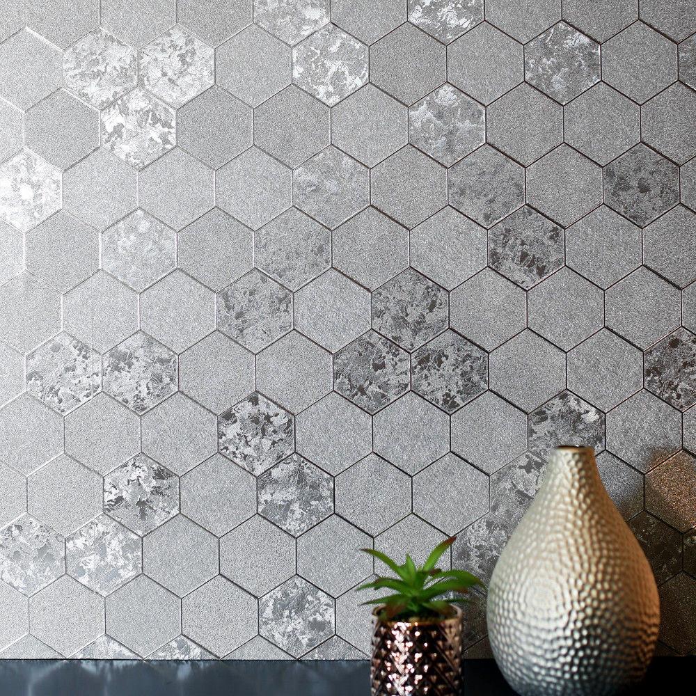 Foil Honeycomb Wallpaper Silver Arthouse