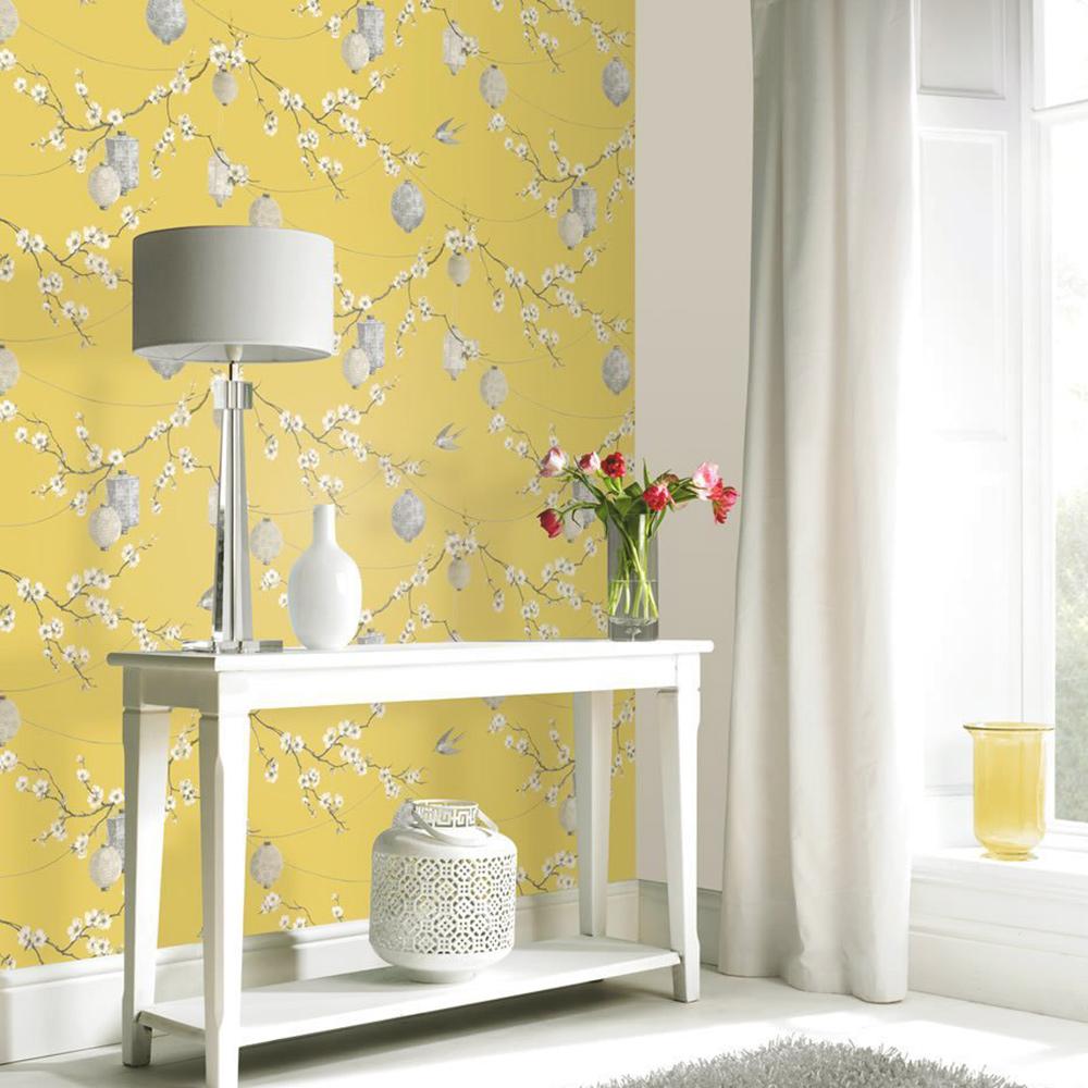 Chinese Garden Wallpaper Yellow Arthouse 695401