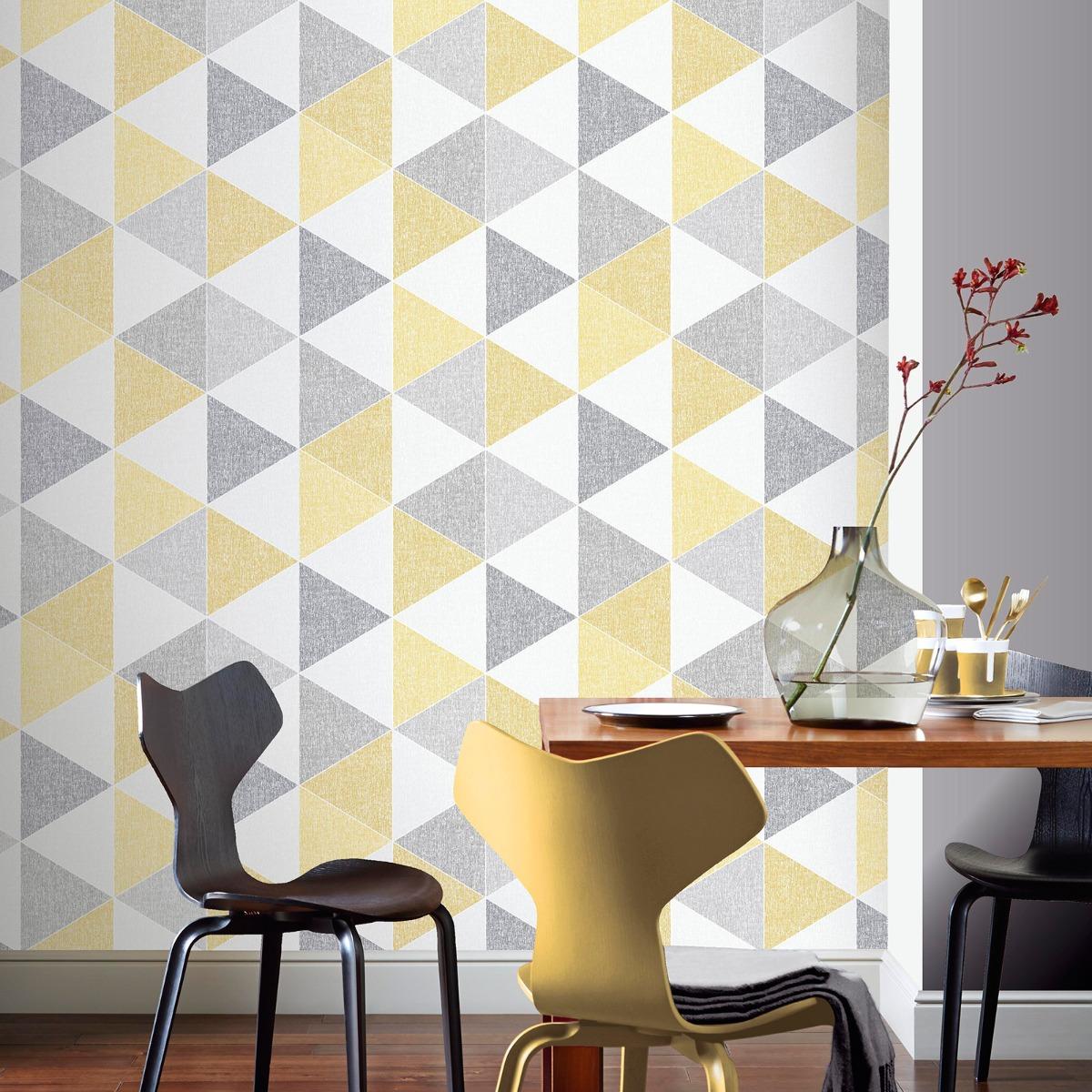 Scandi Geo Triangle Wallpaper - Yellow and Grey - Arthouse 908206