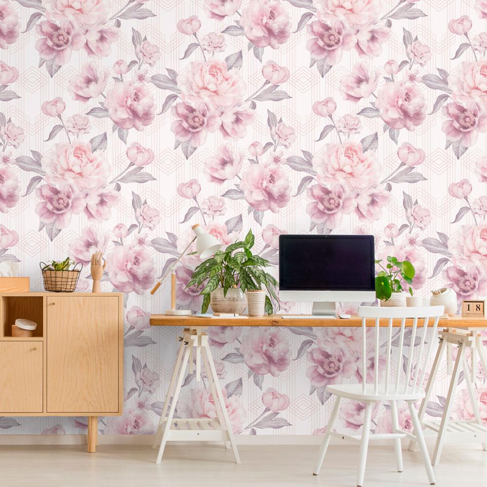 Stella Geometric Floral Wallpaper Blush Pink / White Belgravia 9750