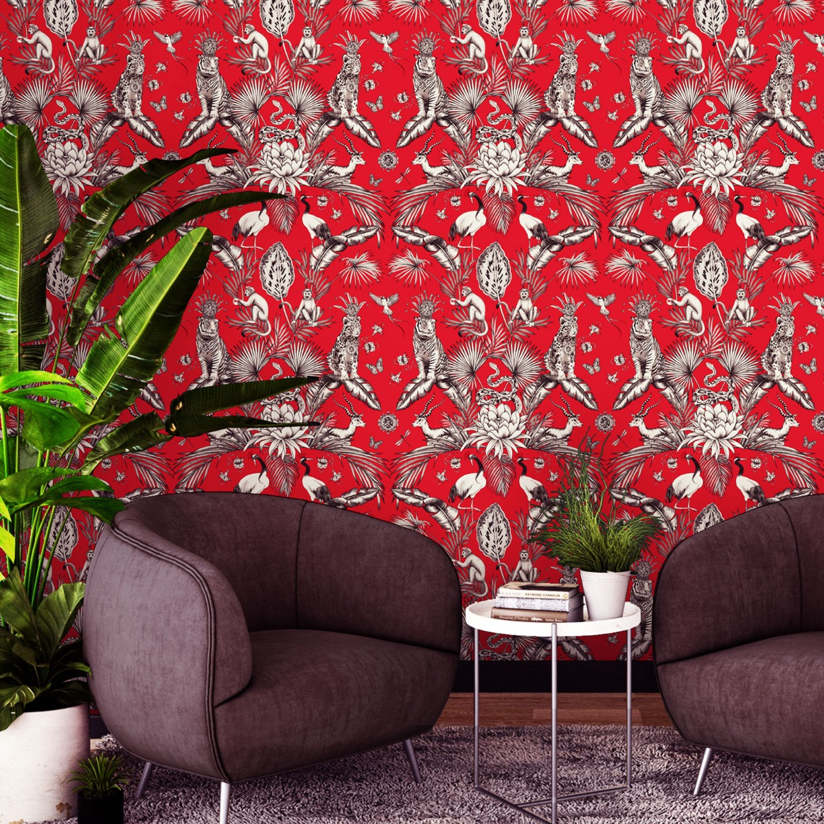 Belgravia Menagerie Animal Luxe Wallpaper Red