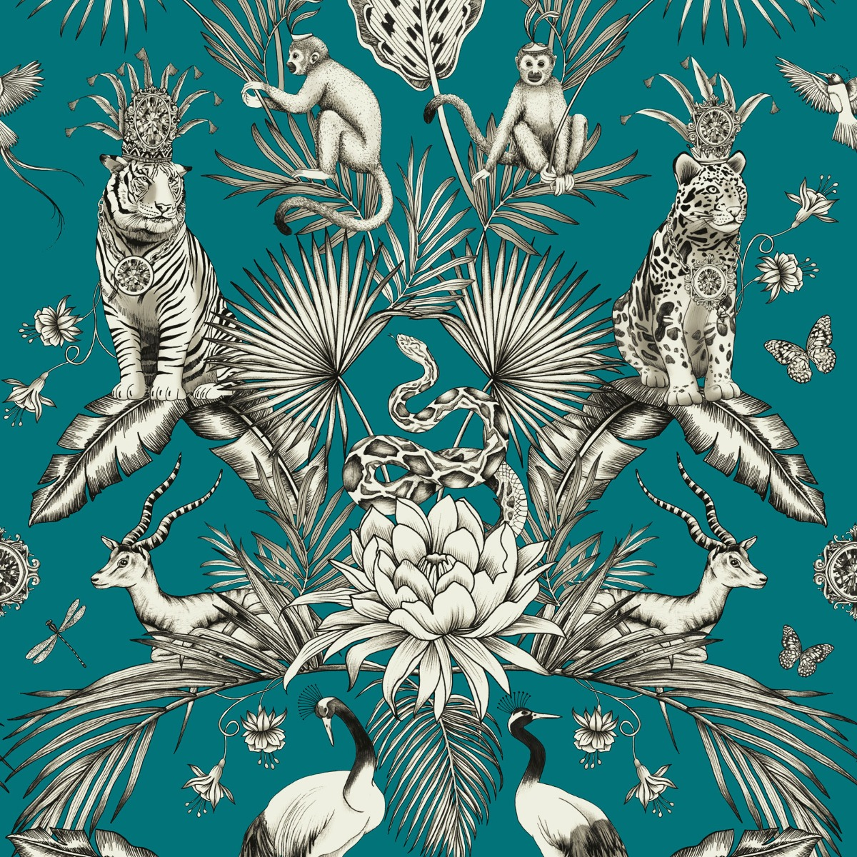 Menagerie Animal Luxe Wallpaper Teal Belgravia 2004