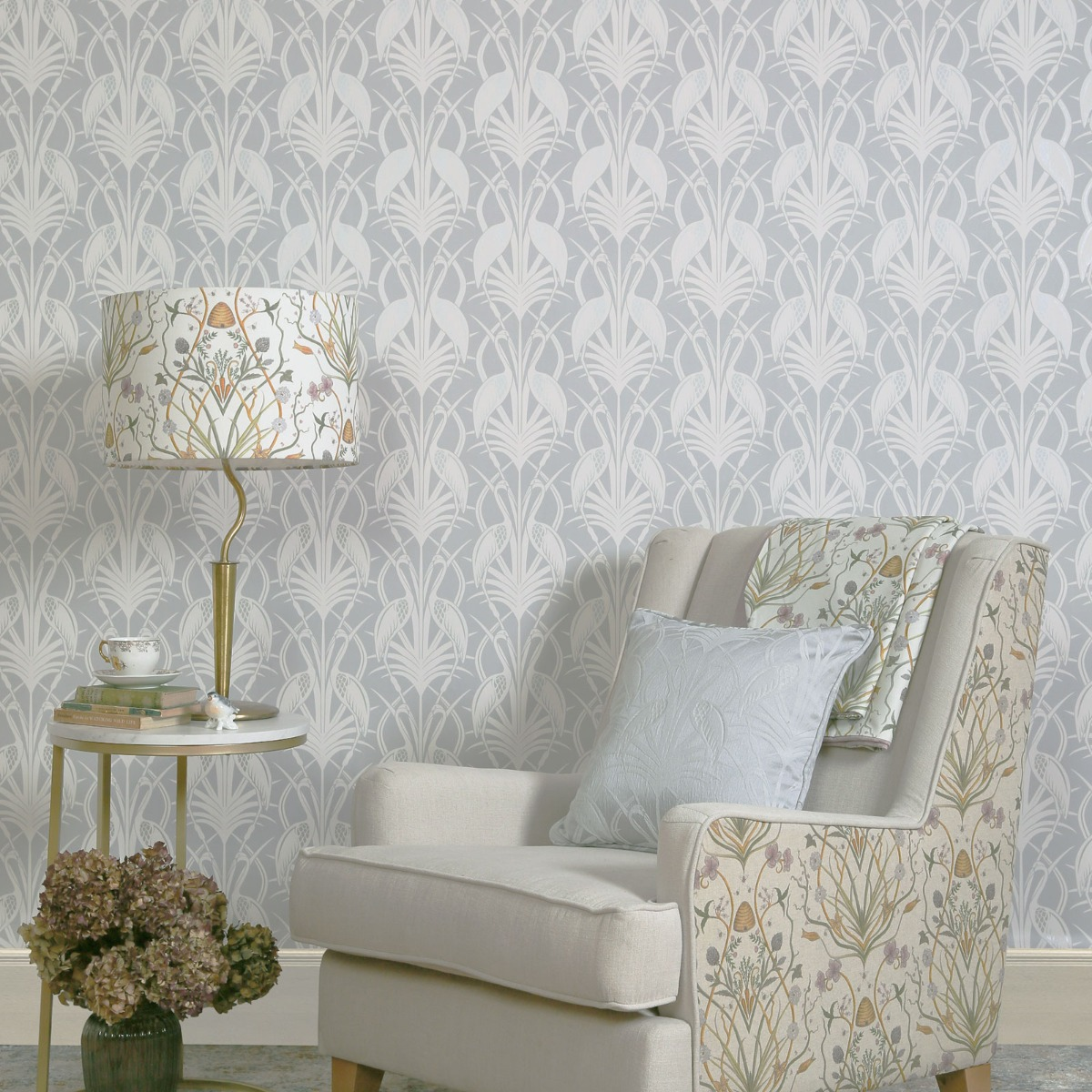 The Chateau by Angel Strawbridge Deco Heron Wallpaper Grey CHWP1B