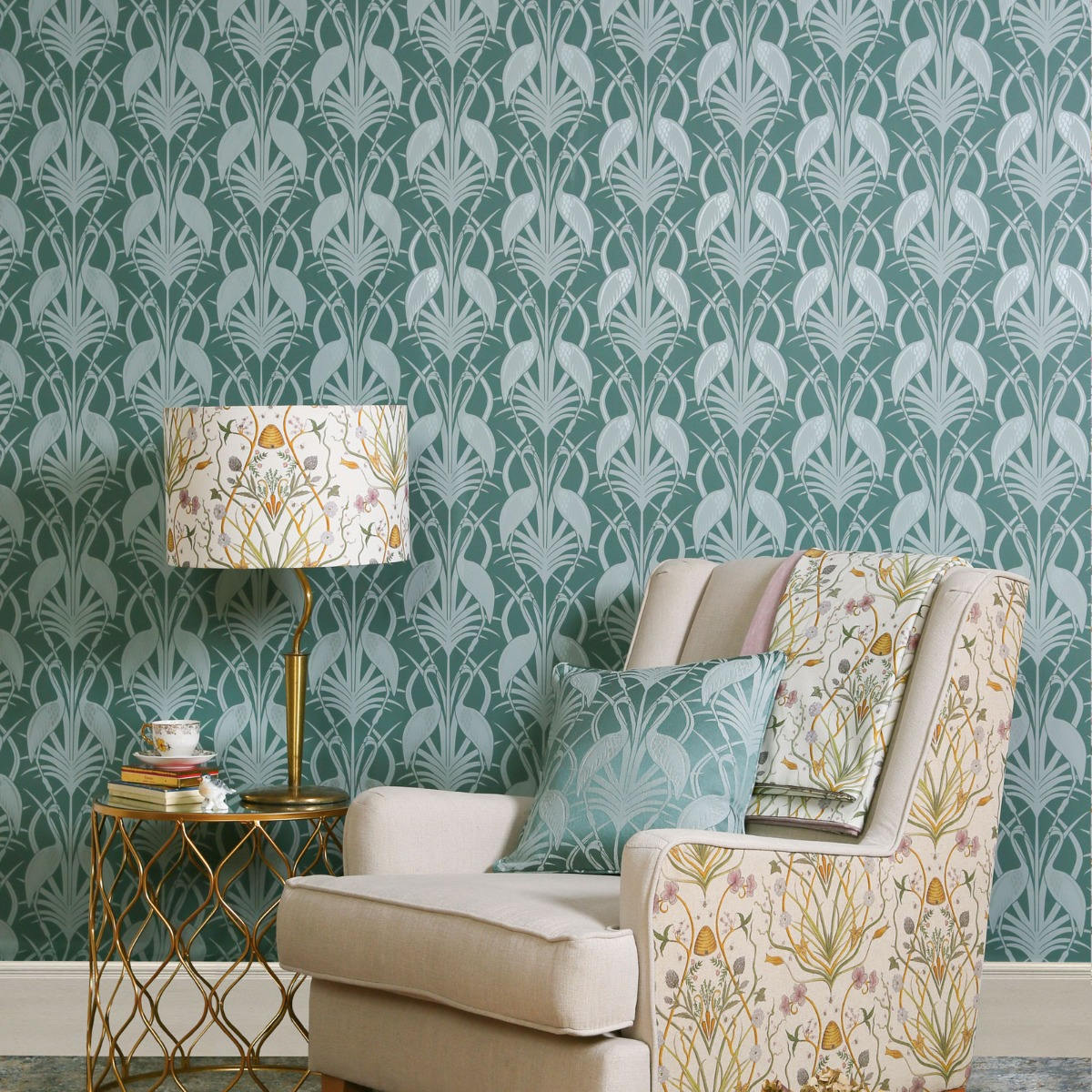 The Chateau by Angel Strawbridge Deco Heron Wallpaper Teal CHWP1A