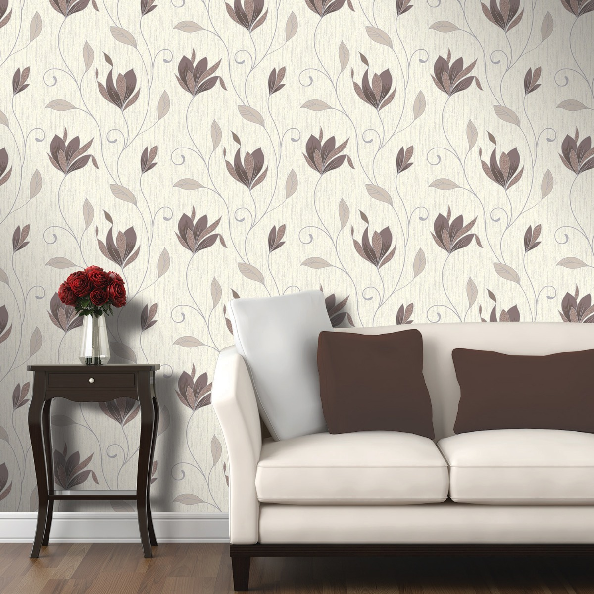 Synergy Floral Glitter Wallpaper Chocolate Vymura M0780