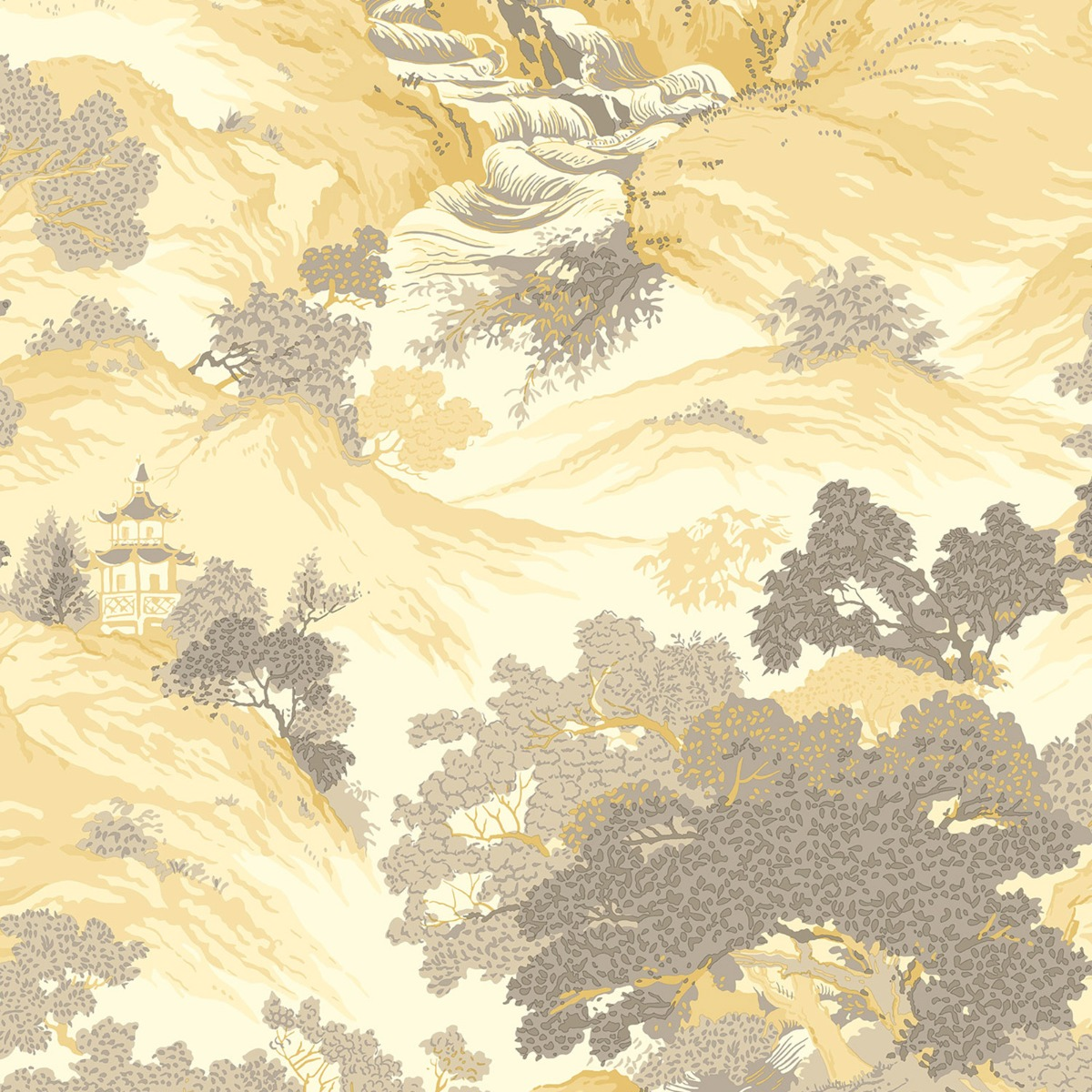 Crown Archives Oriental Landscape Wallpaper Yellow M1192