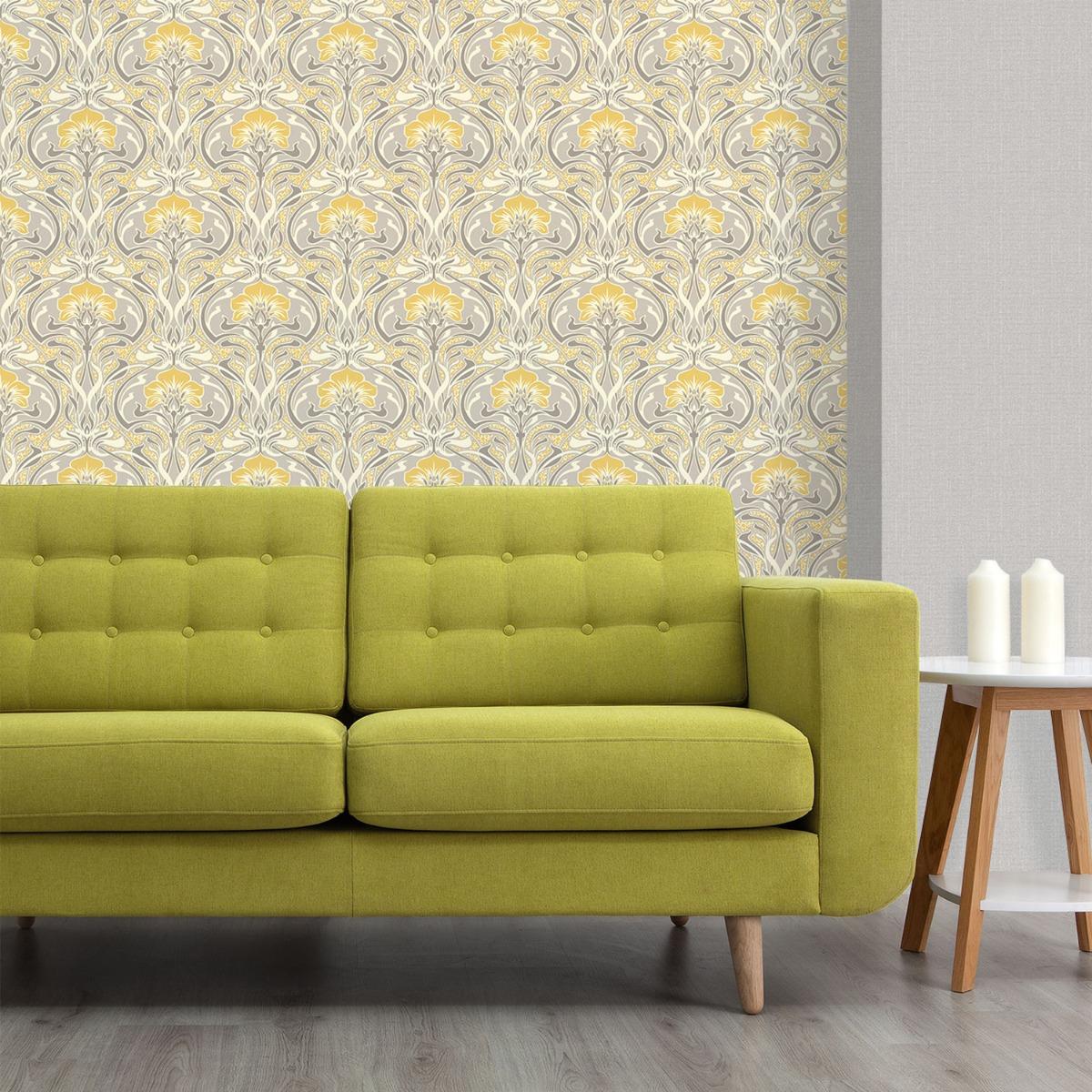 Crown Archives Flora Nouveau Wallpaper Yellow M1195