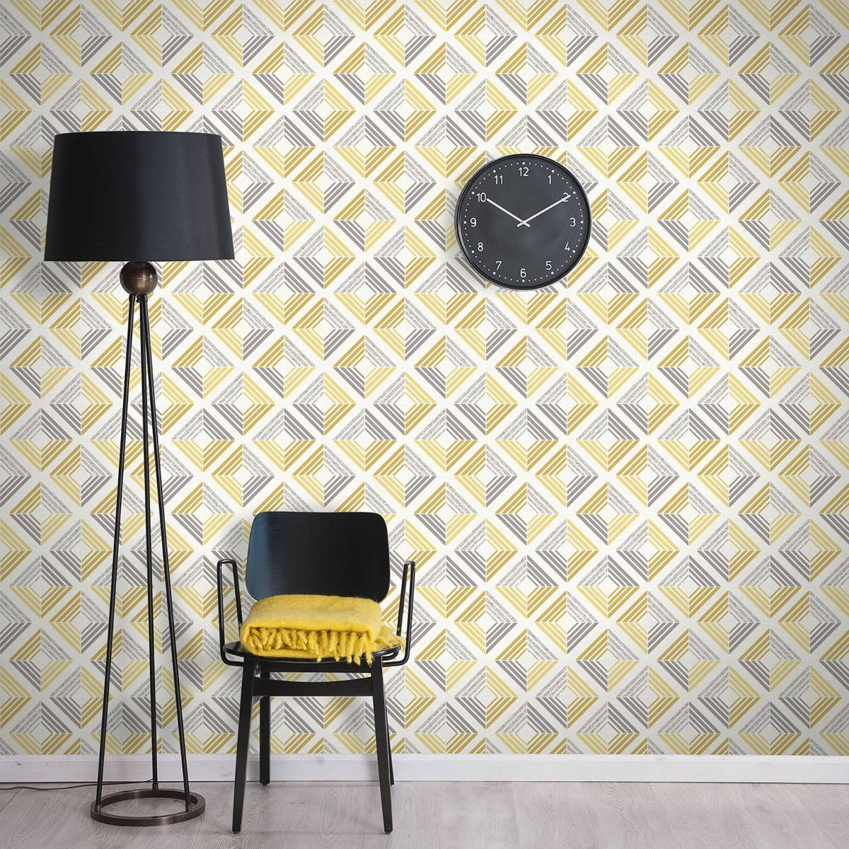 Echo Geometric Wallpaper Ochre Coloroll M1299