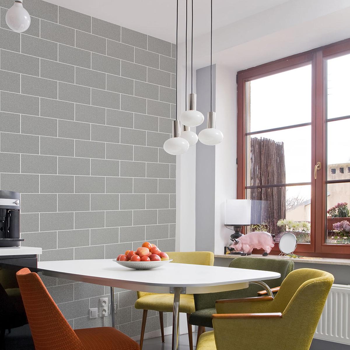 Crown London Tile Glitter Wallpaper Grey Mist M1123
