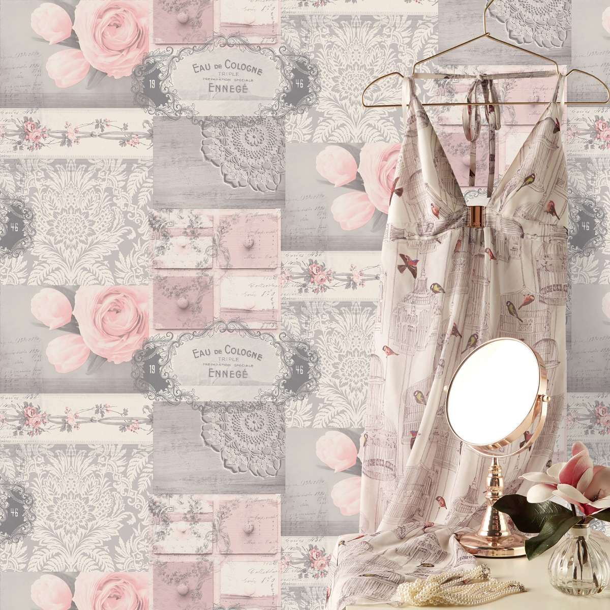 Crown Ophelia Decoupage Wallpaper Blush M1426
