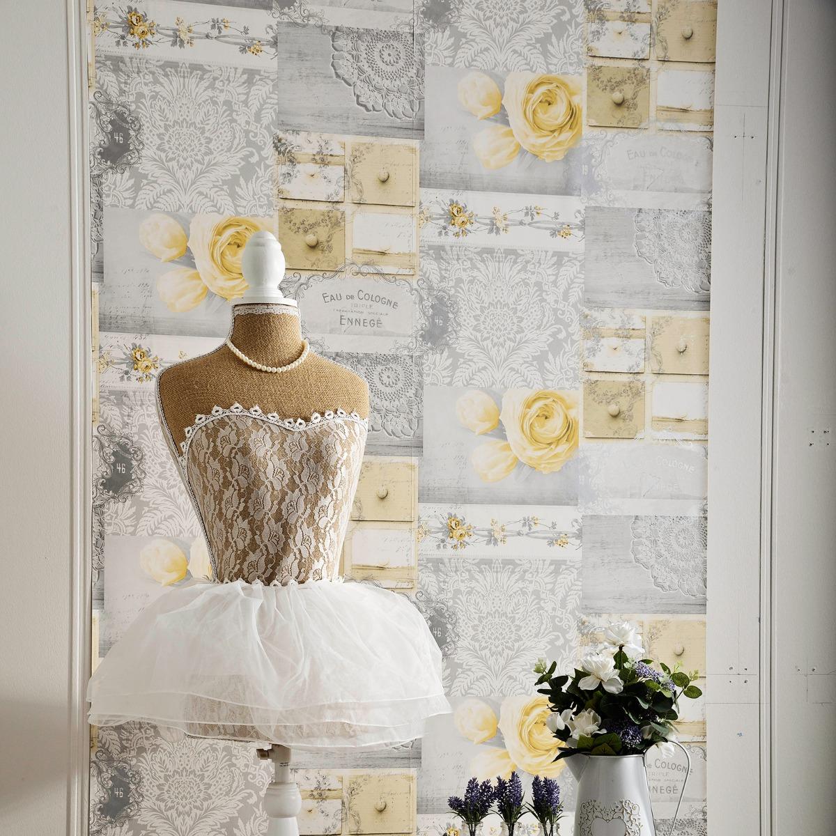 Crown Ophelia Decoupage Wallpaper Yellow M1427