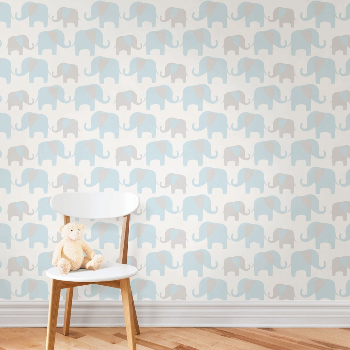 NuWallpaper Elephant Parade Peel And Stick Wallpaper Blue Fine Decor NU1404 5.5m x 0.52m