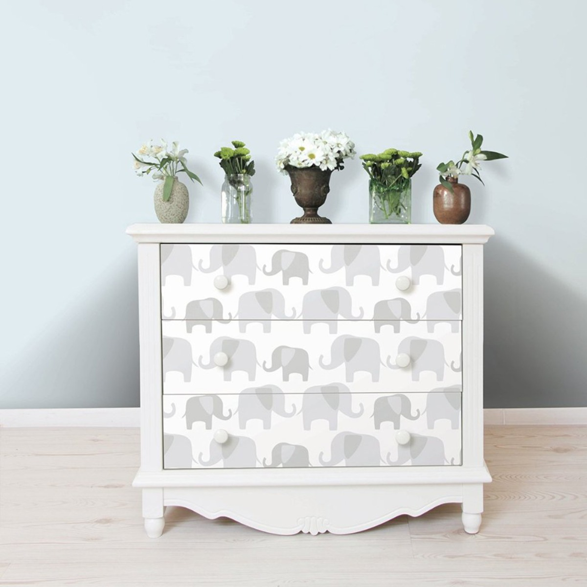 NuWallpaper Elephant Parade Peel And Stick Wallpaper Grey Fine Decor NU1405 5.5m x 0.52m