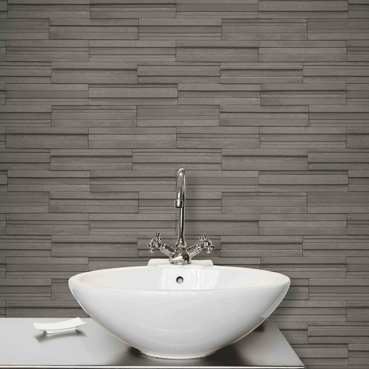 Slate Tile Effect Wallpaper Charcoal Grey Fine Decor FD40126